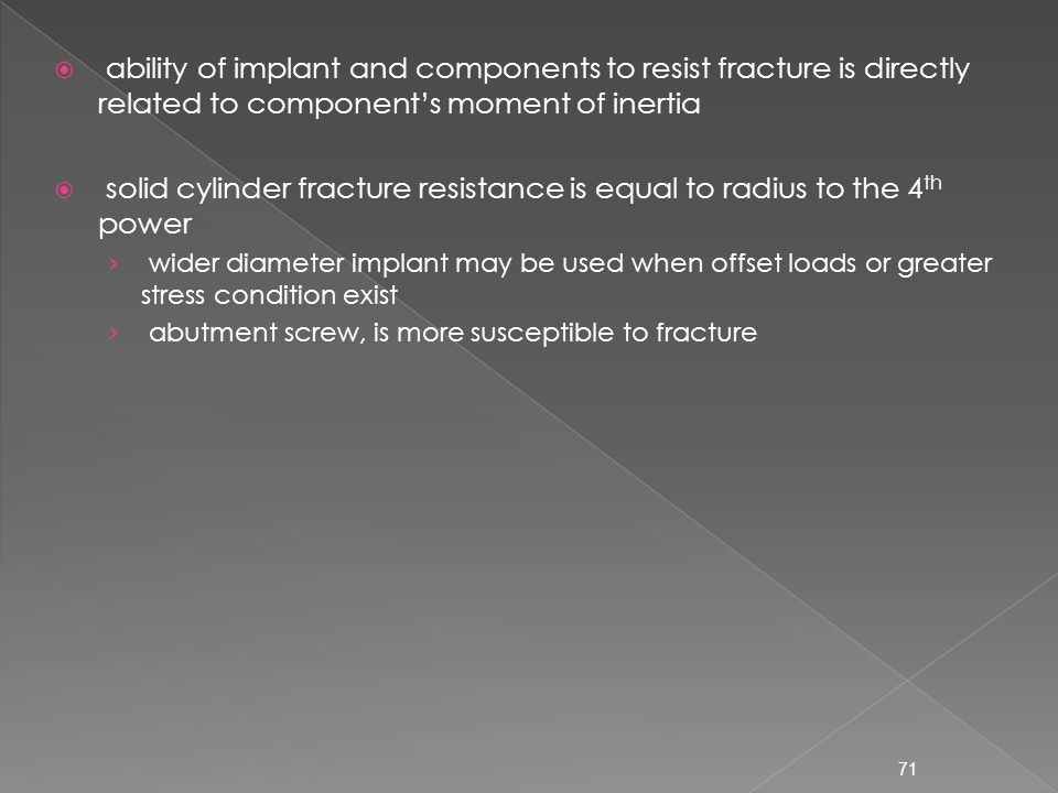 solid cylinder fracture resistance is equal to radius to the 4th power