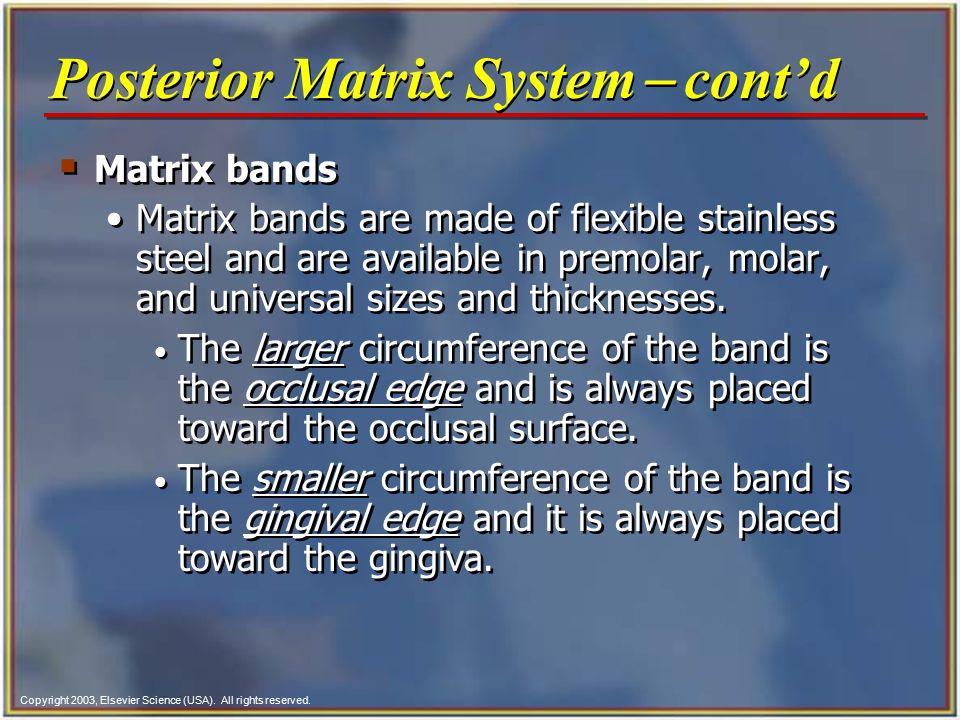 Posterior Matrix System- cont'd
