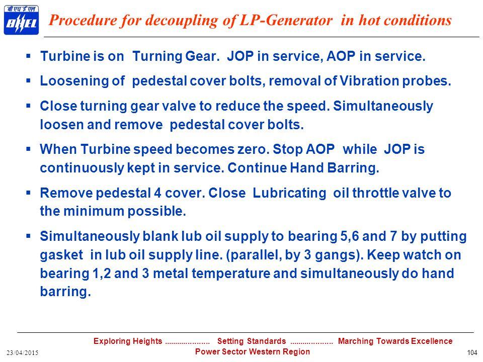 Procedure for decoupling of LP-Generator in hot conditions