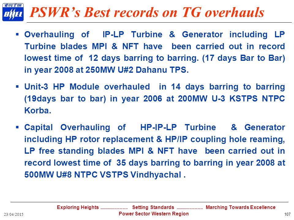 PSWR's Best records on TG overhauls