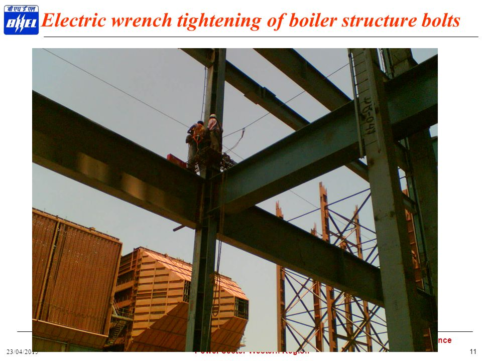Electric wrench tightening of boiler structure bolts