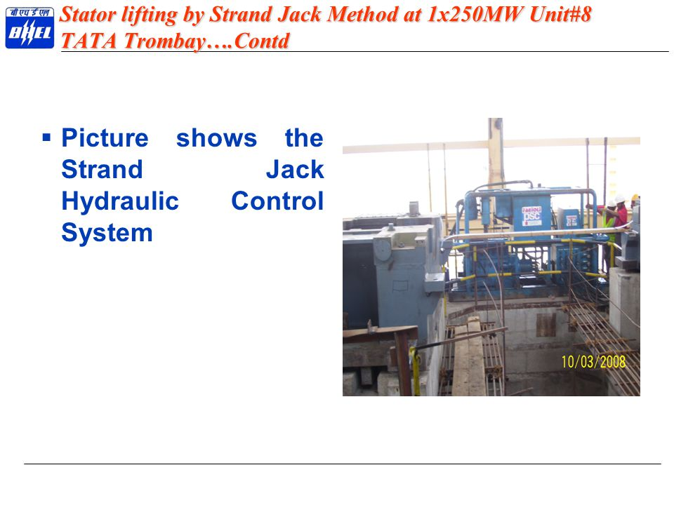 Picture shows the Strand Jack Hydraulic Control System