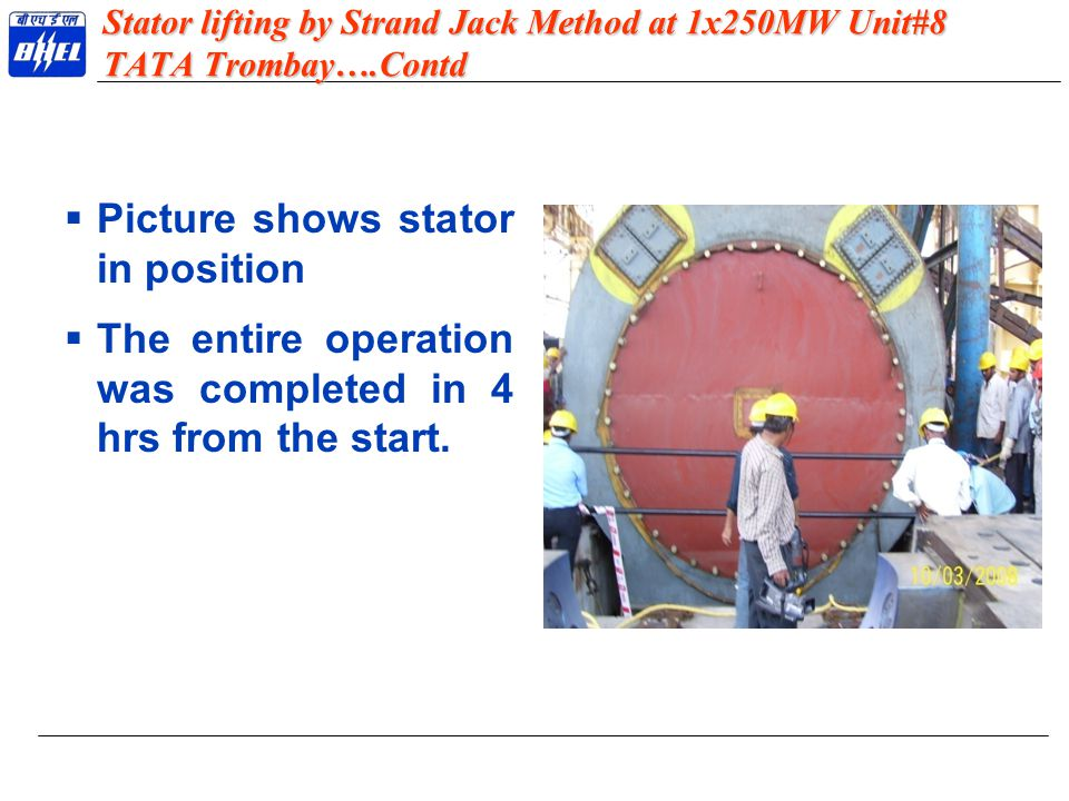 Picture shows stator in position