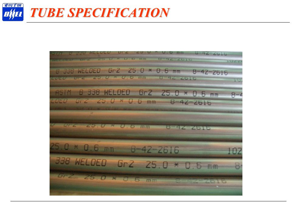 TUBE SPECIFICATION