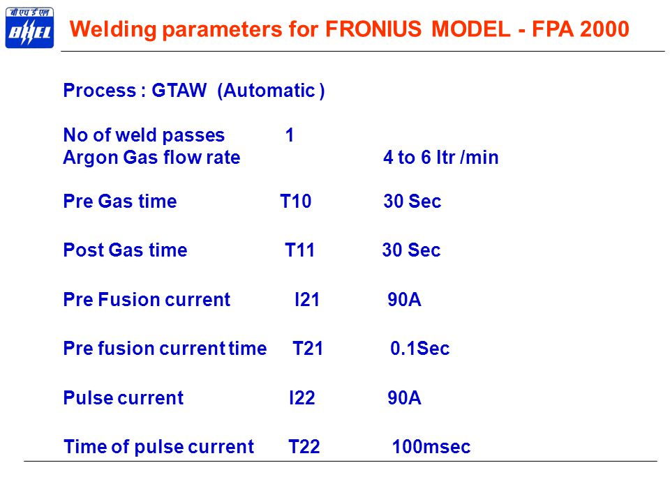 Welding parameters for FRONIUS MODEL - FPA 2000