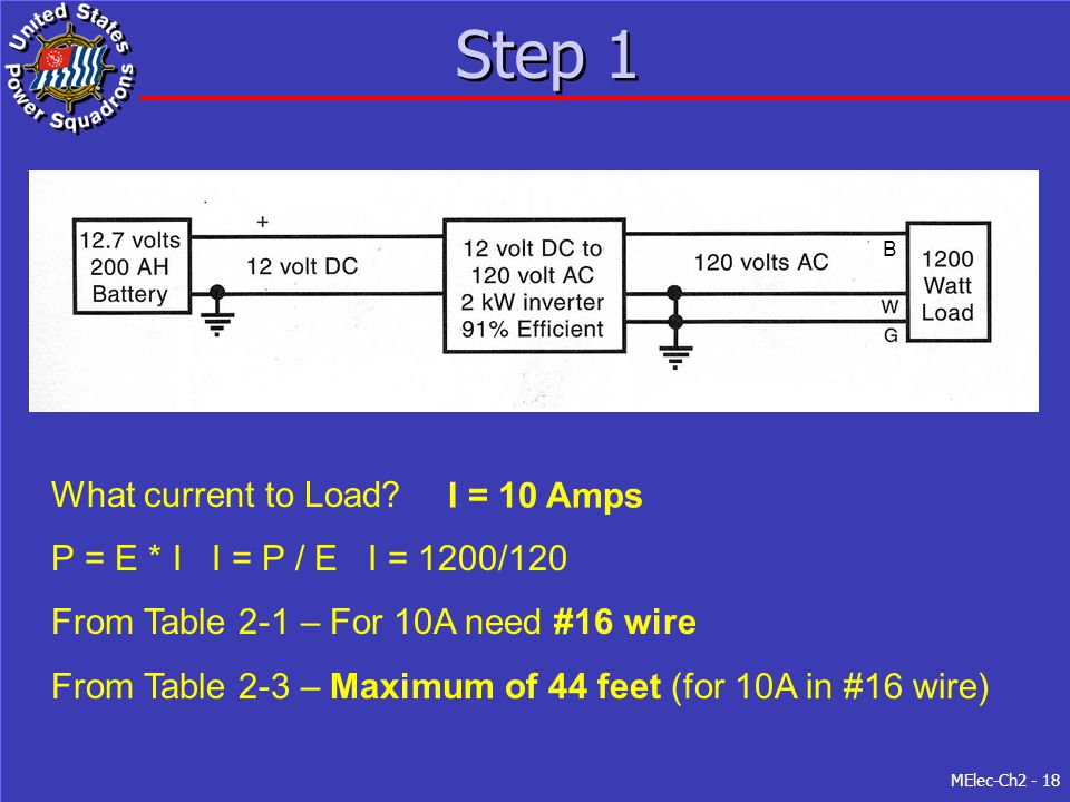 Step 1 What current to Load I = 10 Amps