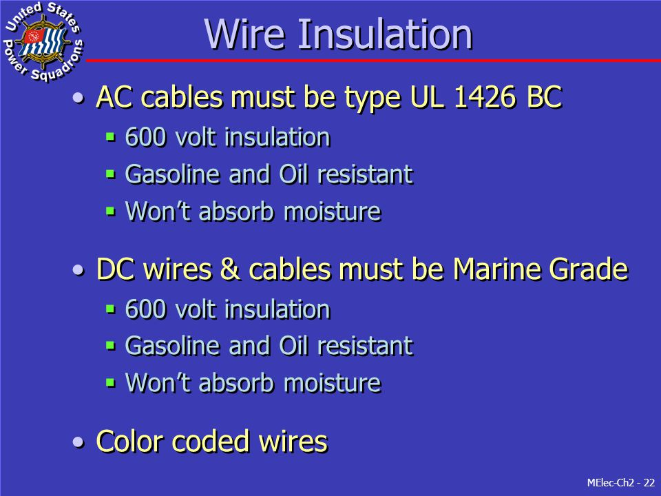 Wire Insulation AC cables must be type UL 1426 BC