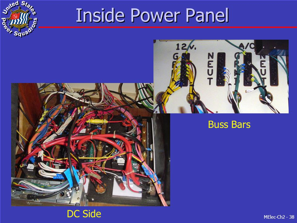 Inside Power Panel Buss Bars DC Side