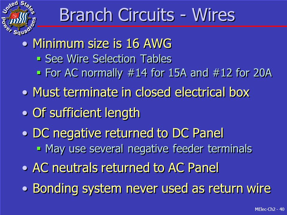 Branch Circuits - Wires