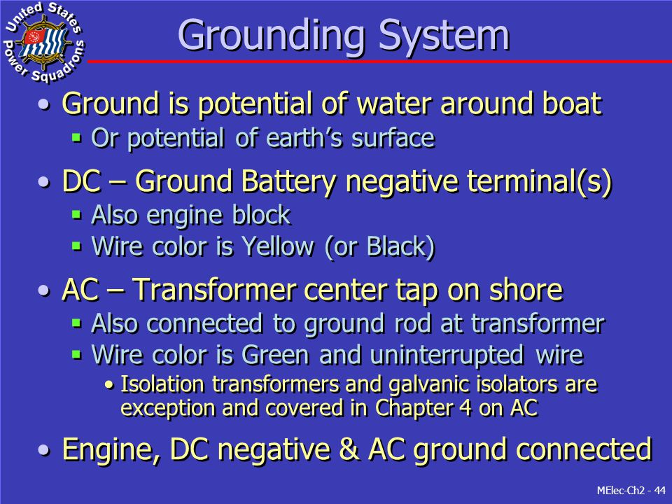 Grounding System Ground is potential of water around boat