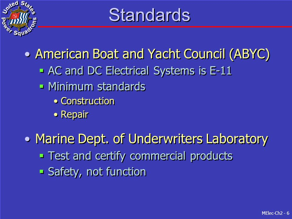 Standards American Boat and Yacht Council (ABYC)