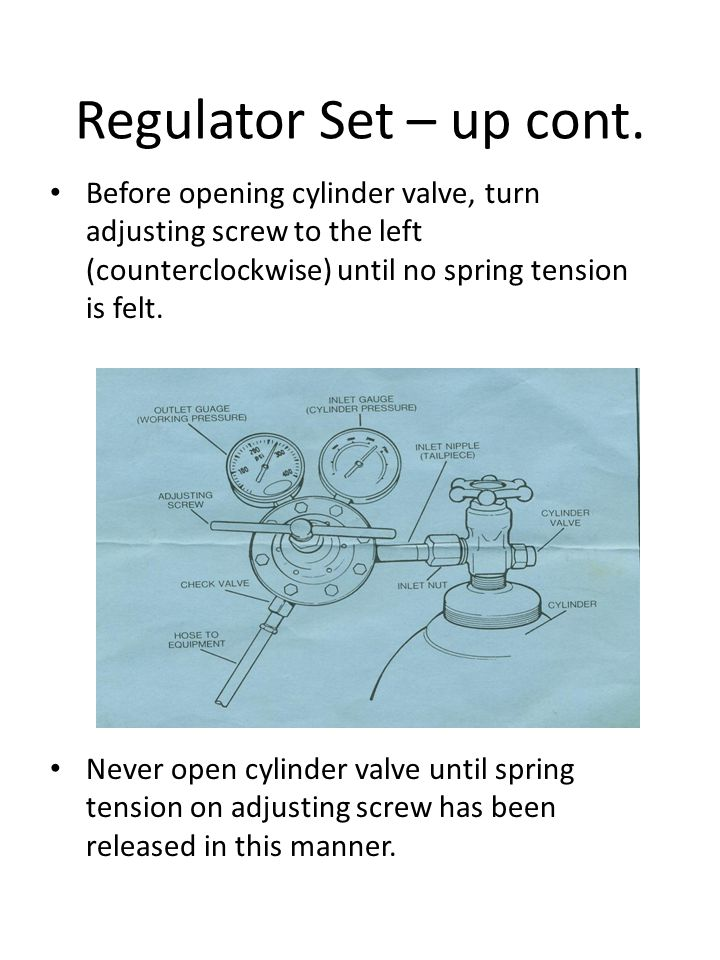 Regulator Set – up cont. Before opening cylinder valve, turn adjusting screw to the left (counterclockwise) until no spring tension is felt.