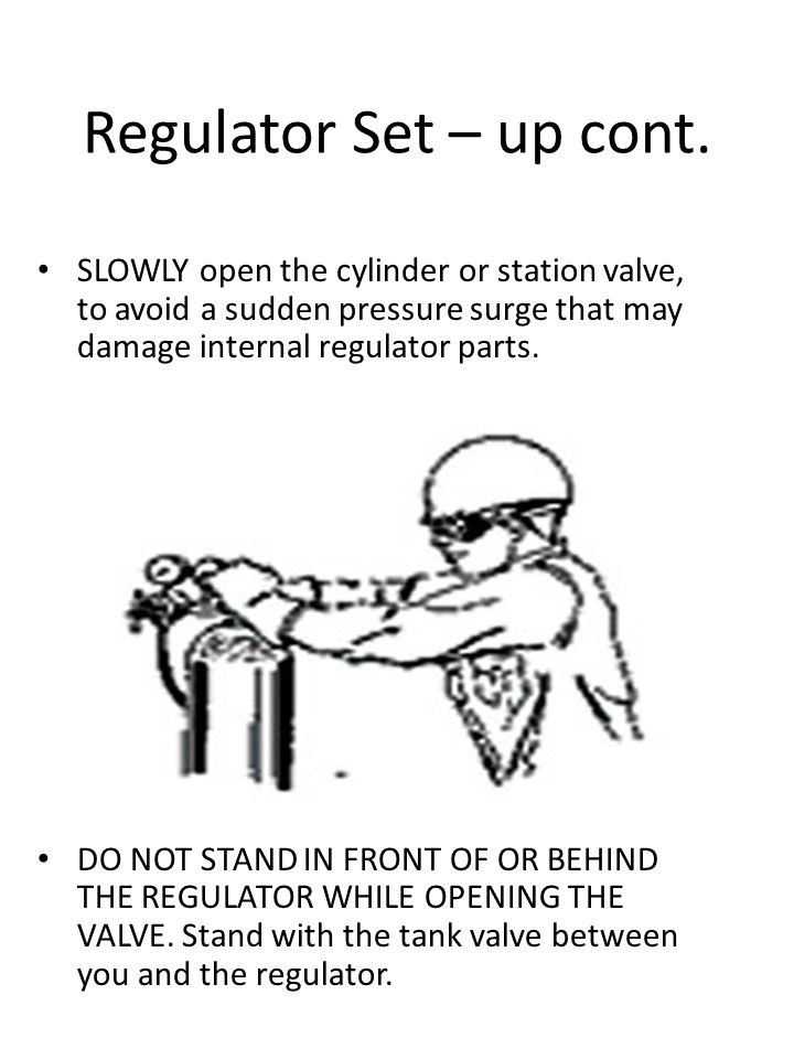 Regulator Set – up cont. SLOWLY open the cylinder or station valve, to avoid a sudden pressure surge that may damage internal regulator parts.