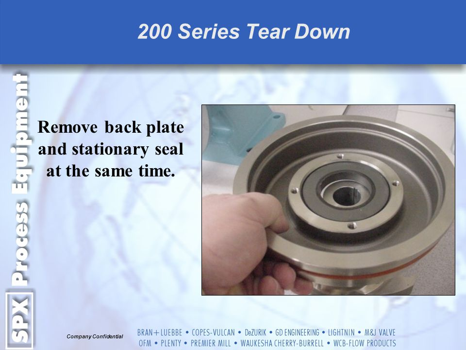 Remove back plate and stationary seal at the same time.