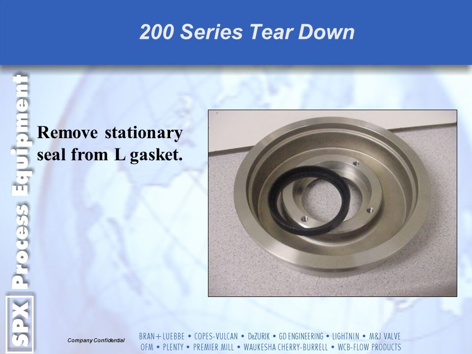 Remove stationary seal from L gasket.