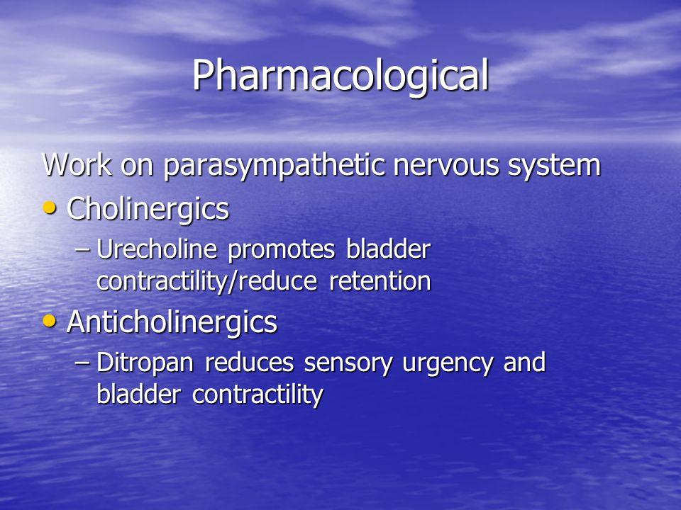 Pharmacological Work on parasympathetic nervous system Cholinergics