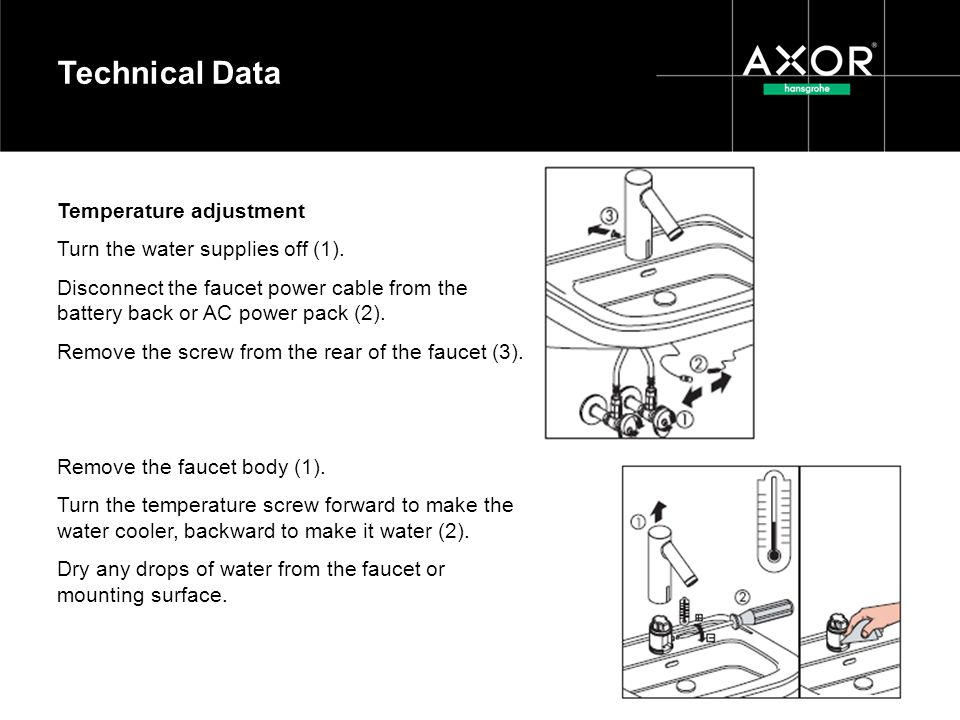 Technical Data Temperature adjustment Turn the water supplies off (1).
