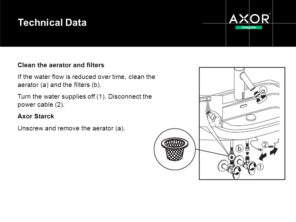 Technical Data Clean the aerator and filters