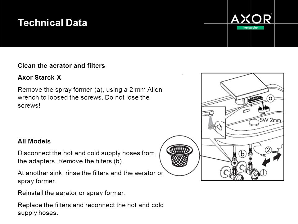 Technical Data Clean the aerator and filters Axor Starck X
