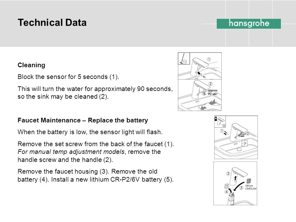 Technical Data Cleaning Block the sensor for 5 seconds (1).