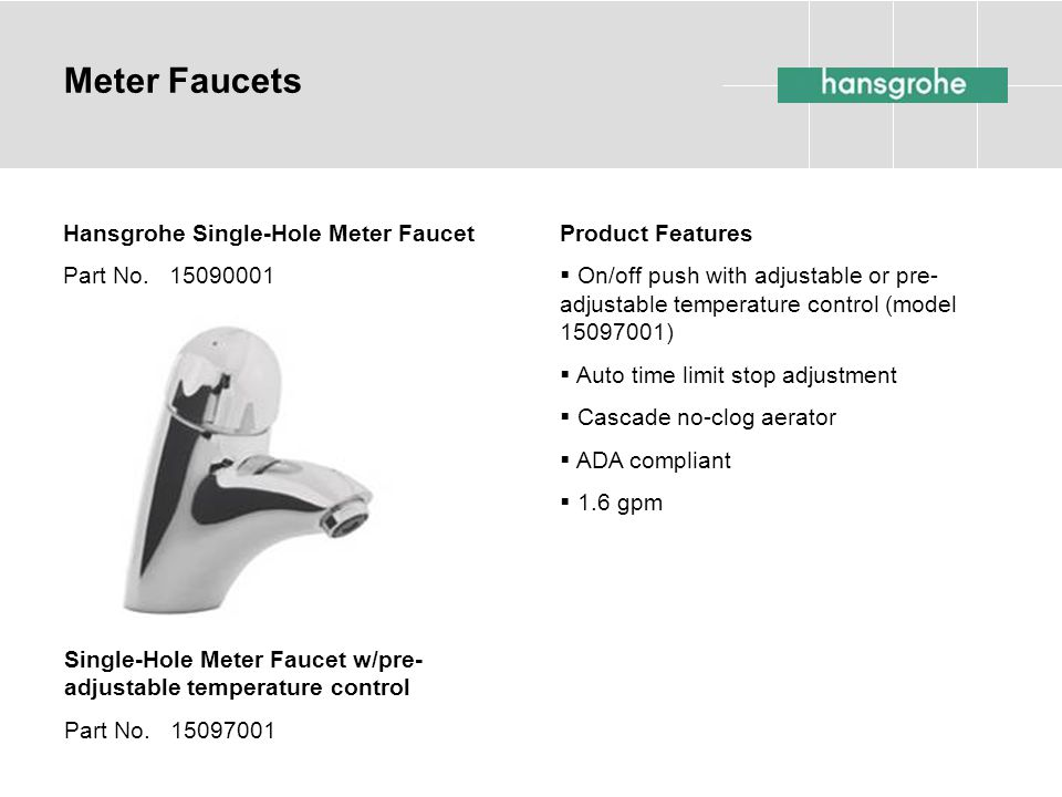 Meter Faucets Hansgrohe Single-Hole Meter Faucet Part No. 15090001