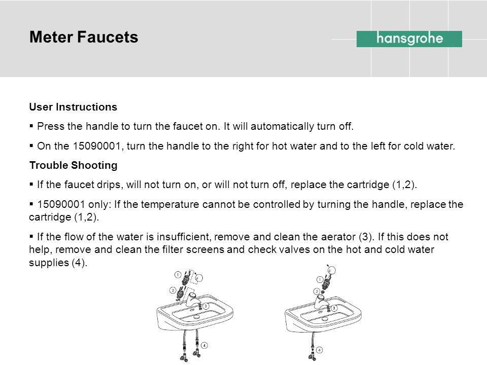 Meter Faucets User Instructions