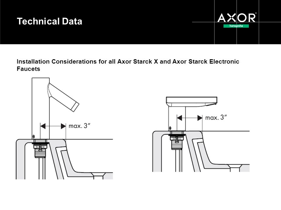 Technical Data Installation Considerations for all Axor Starck X and Axor Starck Electronic Faucets