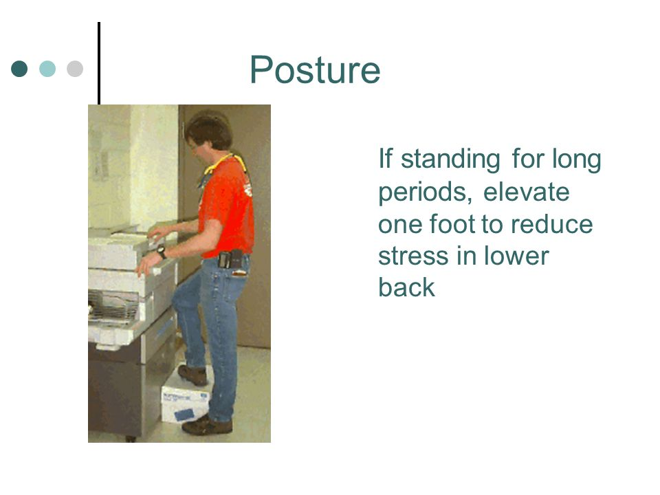 Posture If standing for long periods, elevate one foot to reduce stress in lower back