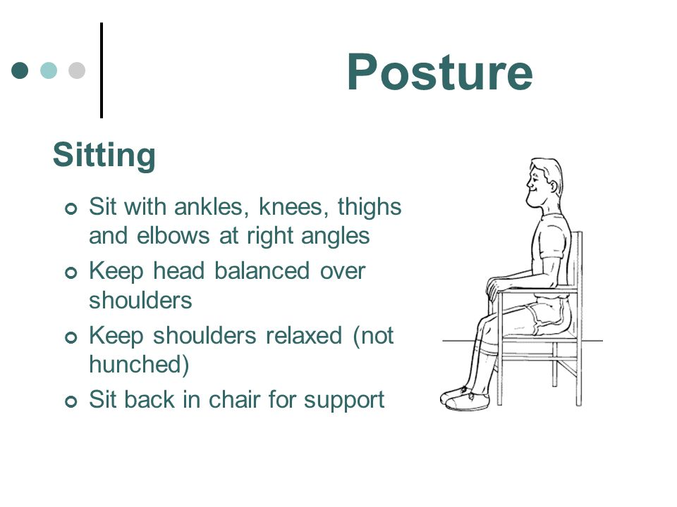 Posture Sitting. Sit with ankles, knees, thighs and elbows at right angles. Keep head balanced over shoulders.