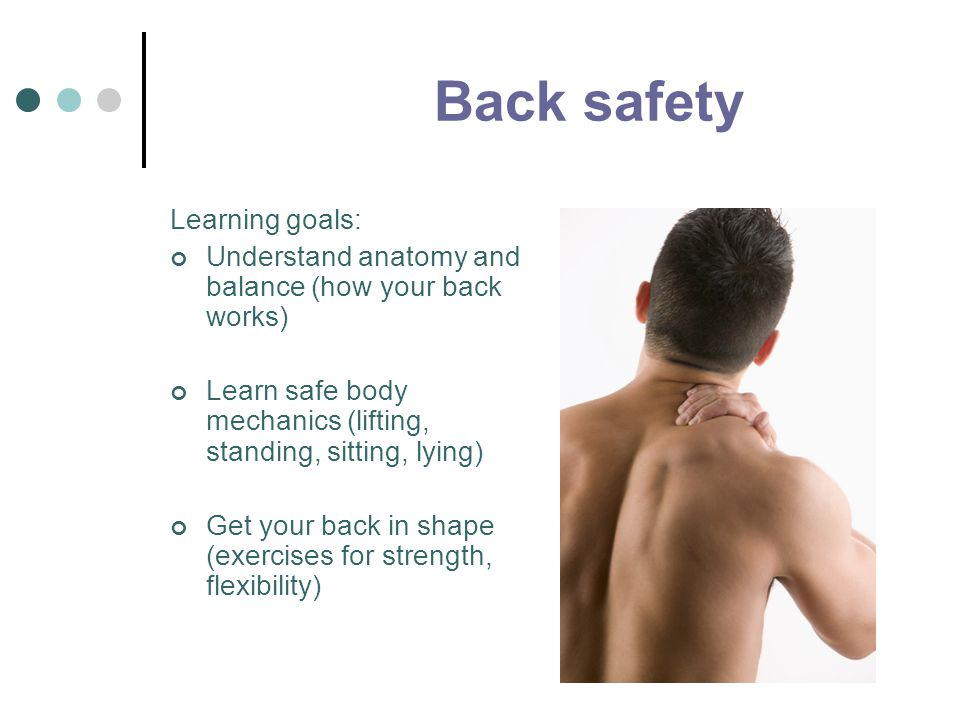 Back safety Learning goals: