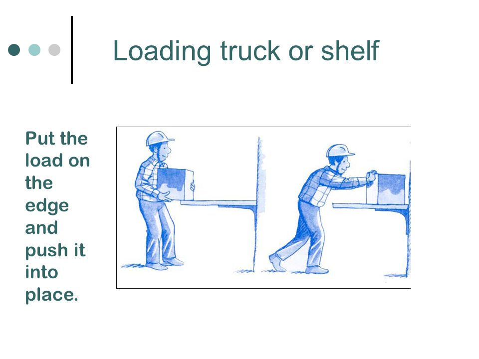 Loading truck or shelf Put the load on the edge and push it into place.