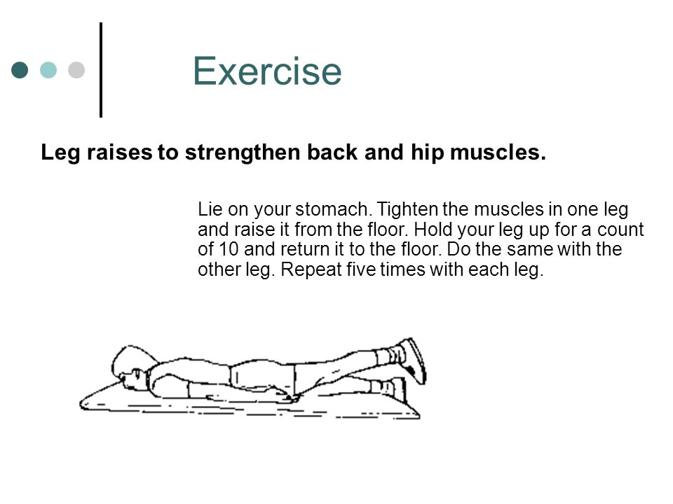 Exercise Leg raises to strengthen back and hip muscles.