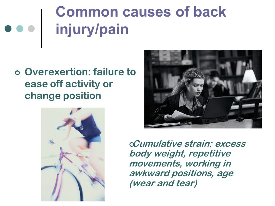 Common causes of back injury/pain