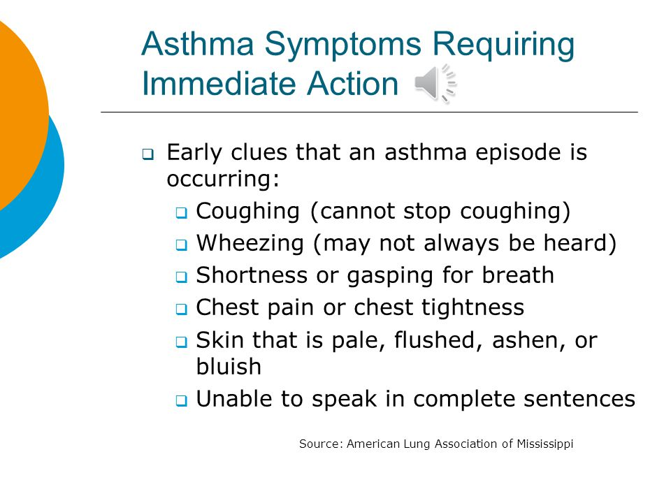 Asthma Symptoms Requiring Immediate Action