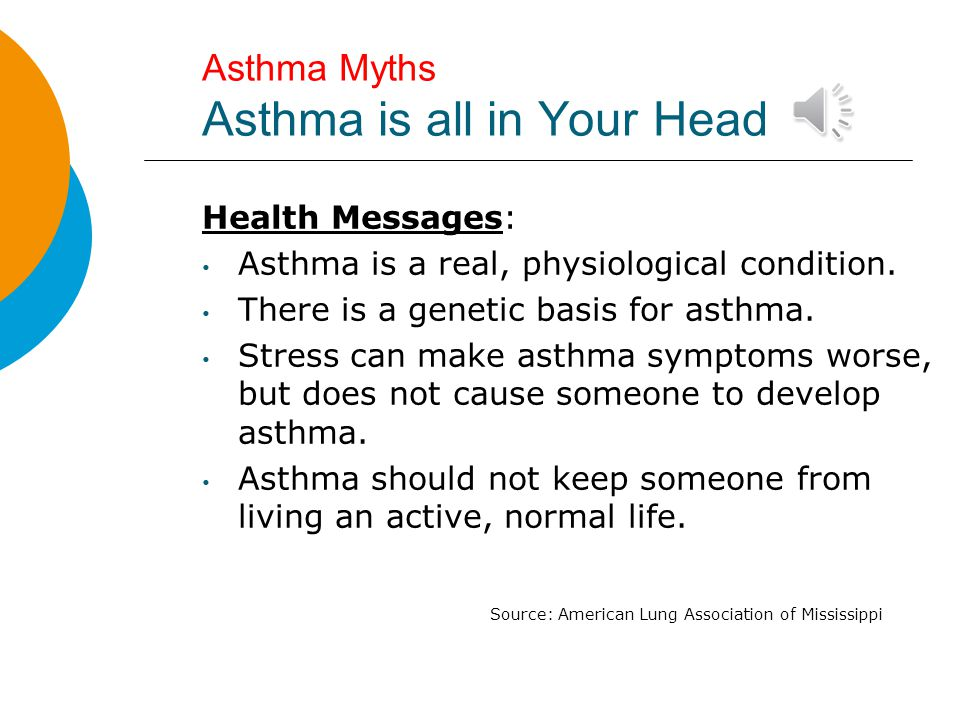 Asthma Myths Asthma is all in Your Head