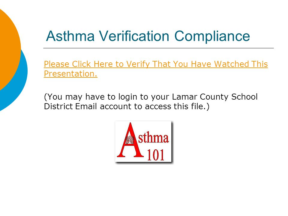 Asthma Verification Compliance