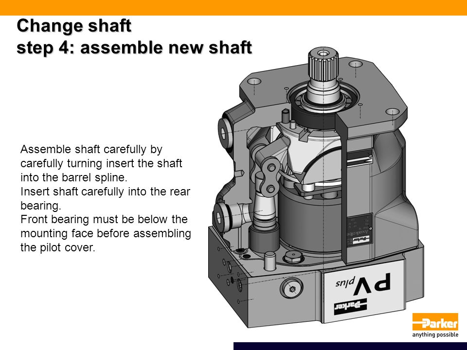 Change shaft step 4: assemble new shaft