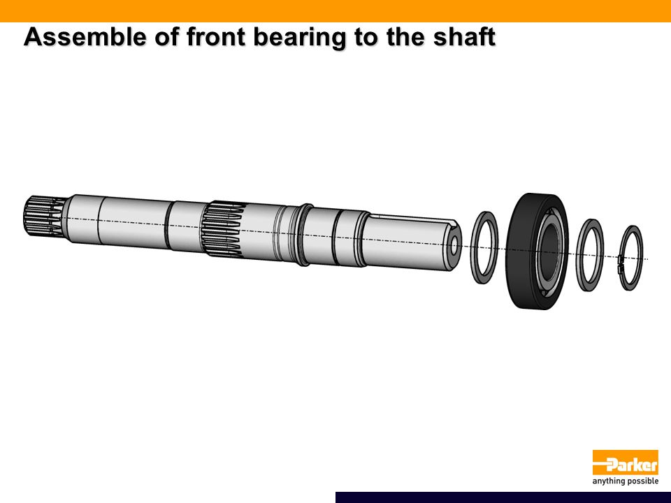 Assemble of front bearing to the shaft