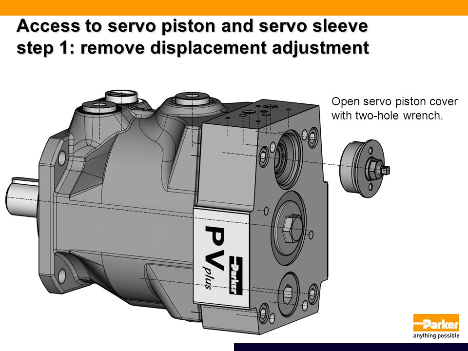 Access to servo piston and servo sleeve step 1: remove displacement adjustment