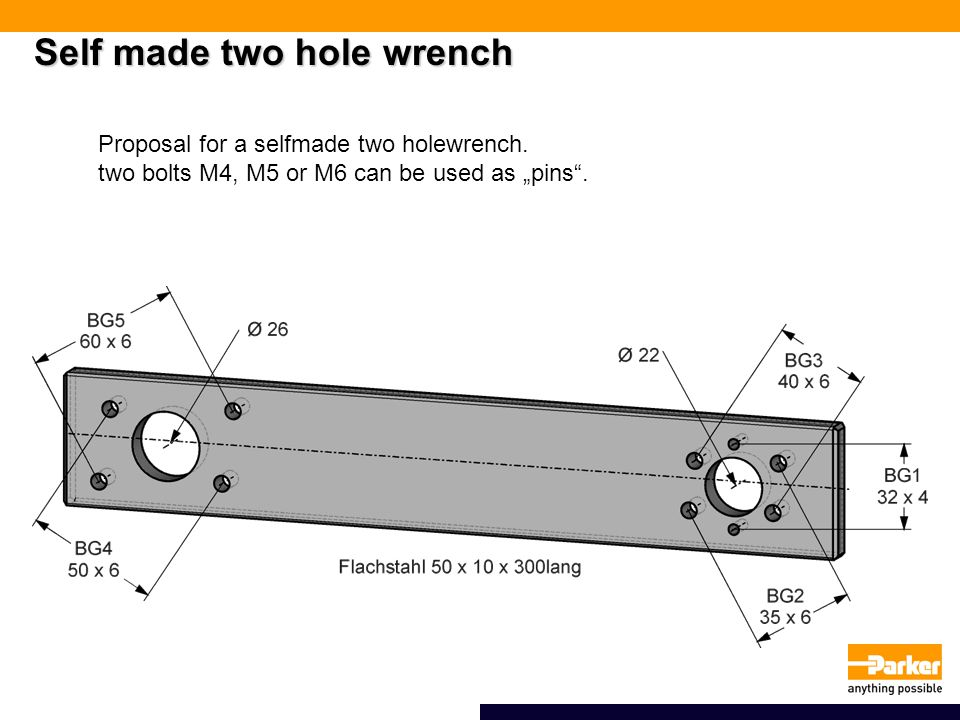 Self made two hole wrench