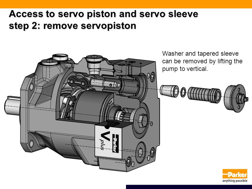 Access to servo piston and servo sleeve step 2: remove servopiston