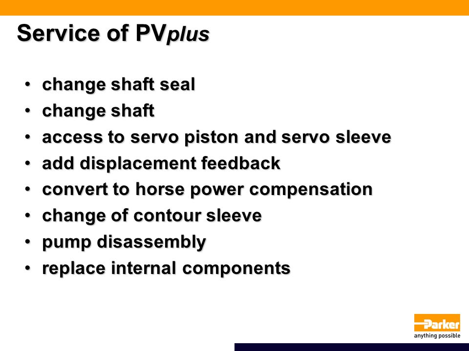 Service of PVplus change shaft seal change shaft
