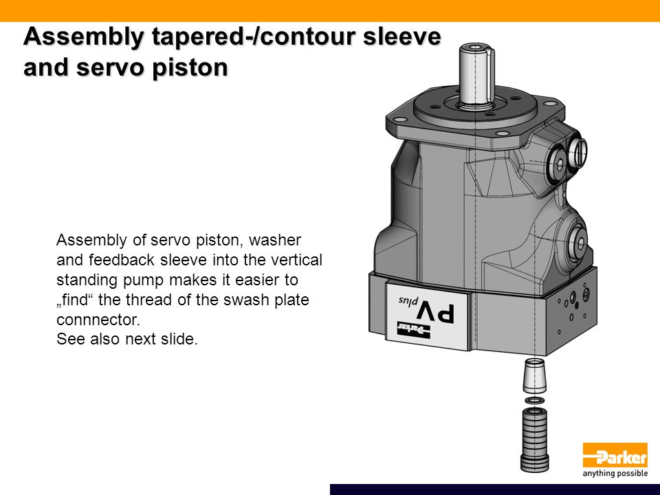 Assembly tapered-/contour sleeve and servo piston