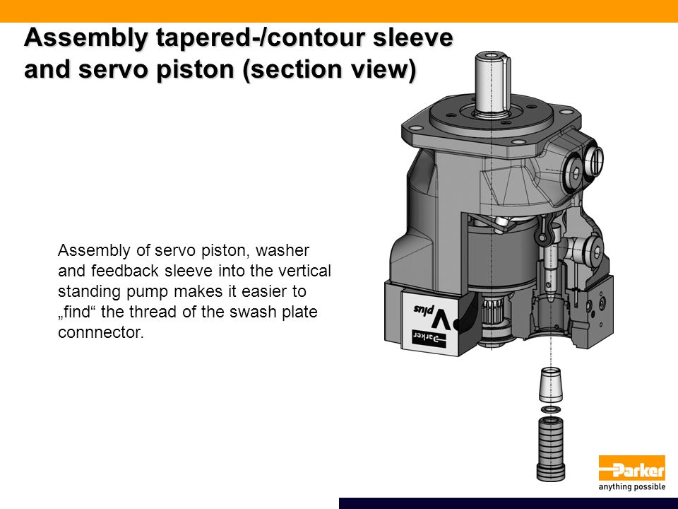 Assembly tapered-/contour sleeve and servo piston (section view)