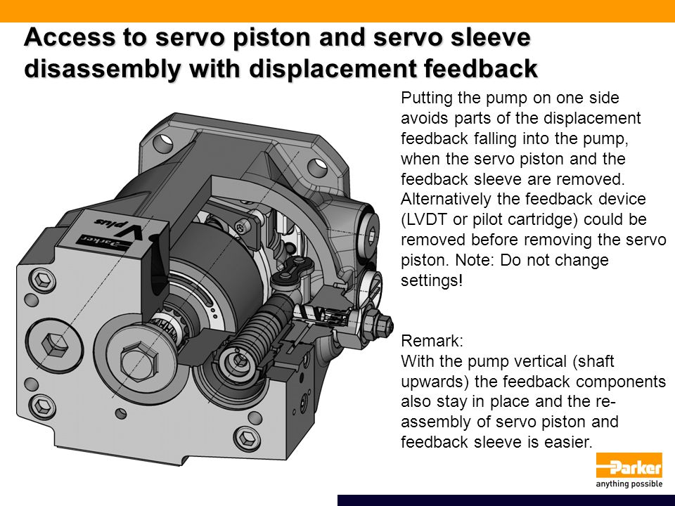 Access to servo piston and servo sleeve disassembly with displacement feedback