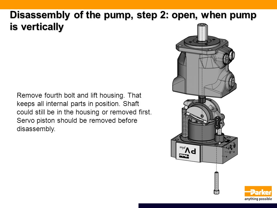 Disassembly of the pump, step 2: open, when pump is vertically
