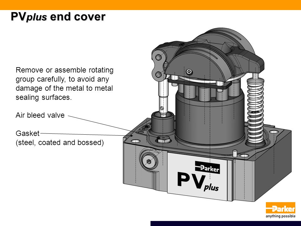 PVplus end cover Remove or assemble rotating group carefully, to avoid any damage of the metal to metal sealing surfaces.