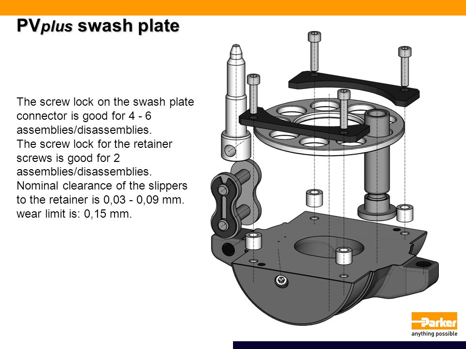 PVplus swash plate The screw lock on the swash plate connector is good for 4 - 6 assemblies/disassemblies.