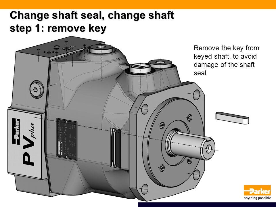 Change shaft seal, change shaft step 1: remove key