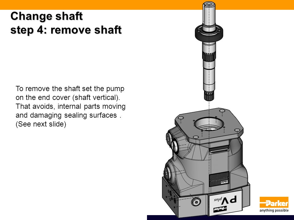 Change shaft step 4: remove shaft